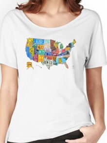 License Plate Map of The United States 2012 Edition 3 on White Women's Relaxed Fit T-Shirt