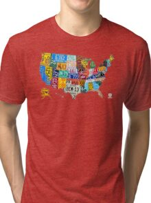 License Plate Map of The United States 2012 Edition 3 on White Tri-blend T-Shirt