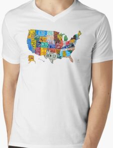 License Plate Map of The United States 2012 Edition 3 on White Mens V-Neck T-Shirt