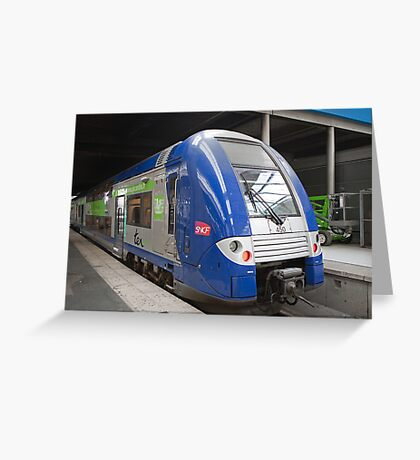 French Double Decker train in Gare Du Nord, Paris, France Greeting Card