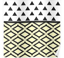 Black, Yellow, & White Triangles and Tribal Shape Poster