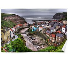 """""""Raining over Staithes, North Yorkshire"""" Poster"""