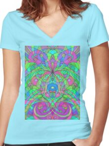 Ethnic Style Women's Fitted V-Neck T-Shirt
