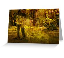 Bicyclist and Pedestrians No.9 Greeting Card