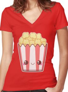 Popcorn! Women's Fitted V-Neck T-Shirt