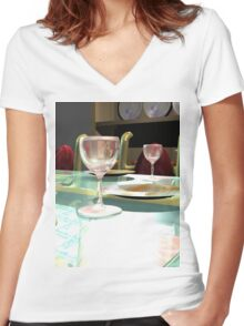 3D Interior Women's Fitted V-Neck T-Shirt