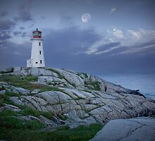Lighthouse at Peggy's Cove in the Moonlight by Randall Nyhof