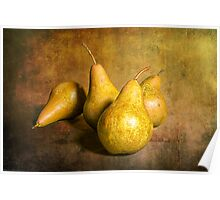 Four Pears on warm amber background Poster