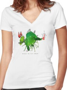Patrick the timid dragon Women's Fitted V-Neck T-Shirt