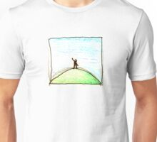 on a green hill waving at blue Unisex T-Shirt