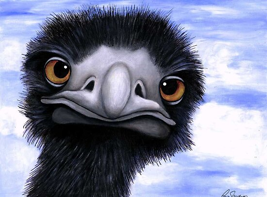 Nosy Emu (6660 viewings as at 15th June 2012) Acrylic painting by Margaret Sanderson