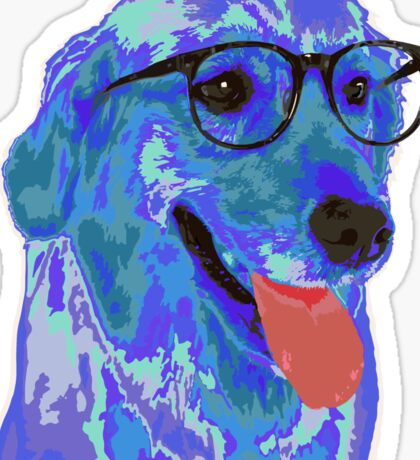 Hipster Dog Sticker