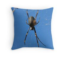 Spider on Blue Throw Pillow