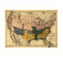 Civil War Era Map of the United States (January 1864) Art Print