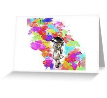 Rainbow Watercolour Rainy Umbrella Greeting Card