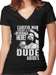 dude abides big lebowski  Women's Fitted V-Neck T-Shirt
