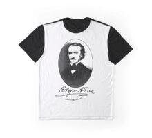 Edgar Allan Poe Portrait with Signature Graphic T-Shirt