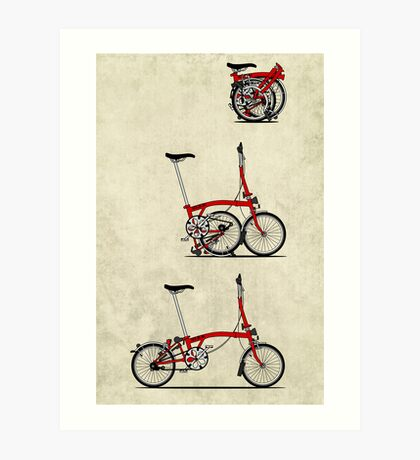 I Love My Folding Brompton Bike Art Print