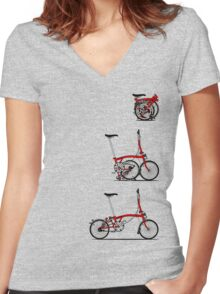 I Love My Folding Brompton Bike Women's Fitted V-Neck T-Shirt