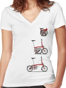 I Love My Folding Brompton Bike Women's Fitted V-Neck T-Shirt
