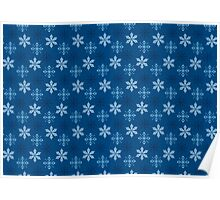 Snowflakes on blue background Poster