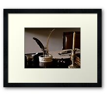 Quill Pen And Desk Framed Print