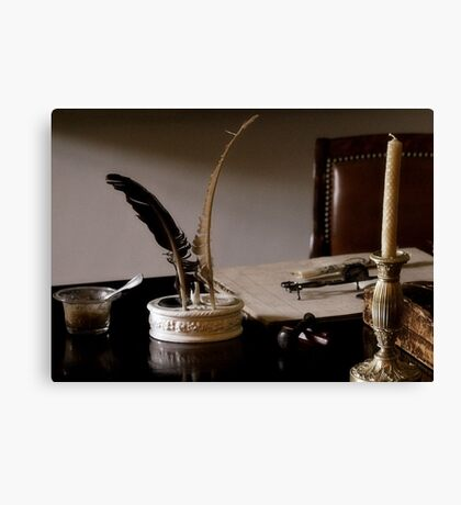 Quill Pen And Desk Canvas Print