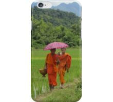 Novices Walking Home Through Rice Field iPhone Case/Skin