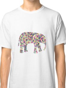 Elephant Collage in Gray Hot Pink Teal and Yellow Classic T-Shirt