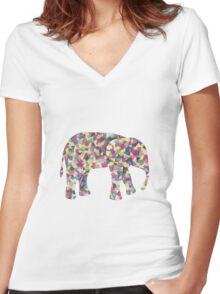 Elephant Collage in Gray Hot Pink Teal and Yellow Women's Fitted V-Neck T-Shirt