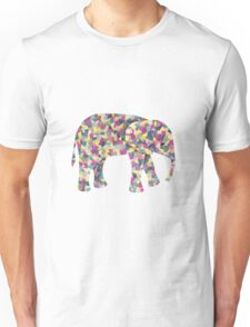 Elephant Collage in Gray Hot Pink Teal and Yellow Unisex T-Shirt