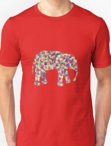 Elephant Collage in Gray Hot Pink Teal and Yellow T-Shirt