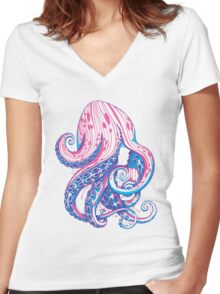 Curls Women's Fitted V-Neck T-Shirt