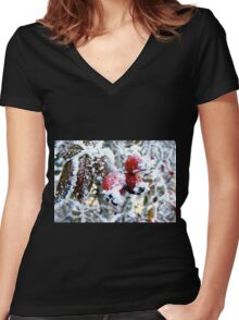 Frosty Berries Women's Fitted V-Neck T-Shirt