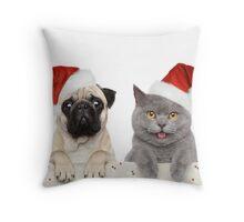 Christmas pug and Kitty cat Throw Pillow