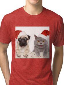 Christmas pug and Kitty cat Tri-blend T-Shirt