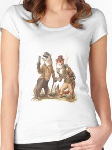 Steampunk Weasels Women's Fitted Scoop T-Shirt