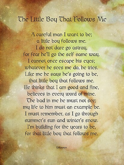 For the little boy that follows me by vigor
