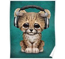 Cute Cheetah Cub Dj Wearing Headphones on Blue Poster