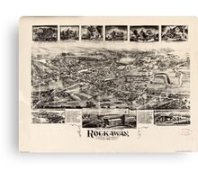 Panoramic Maps Rockaway New Jersey Canvas Print