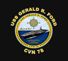 USS Gerald R. Ford (CVN-78) Crest for Dark Colors Women's Fitted Scoop T-Shirt
