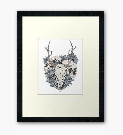 Skulls & flowers Framed Print