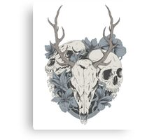 Skulls & flowers Canvas Print