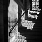Sunlight on the stairs at the Pantheon in monochrome, Paris by Elana Bailey