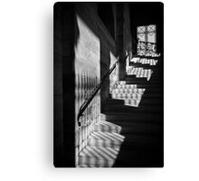 Sunlight on the stairs at the Pantheon in monochrome, Paris Canvas Print