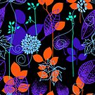 Foliage Indigo & Orange [iPhone / iPod Case and Print] by Damienne Bingham
