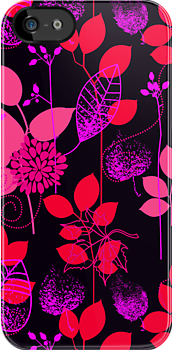 Foliage Raspberry & Musk [iPhone / iPod Case and Print] by Damienne Bingham