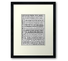 The Love Song of J. Alfred Prufrock Framed Print