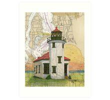Pt Robinson Lighthouse WA Nautical Map Cathy Peek Art Print