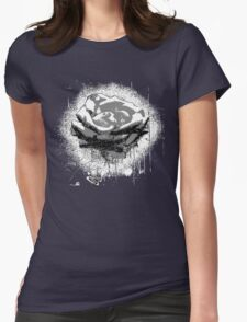 Vintage Black and White Rose Fine Art Womens Fitted T-Shirt